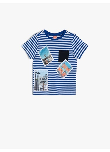 Koton Kids Çizgili T-Shirt Mavi